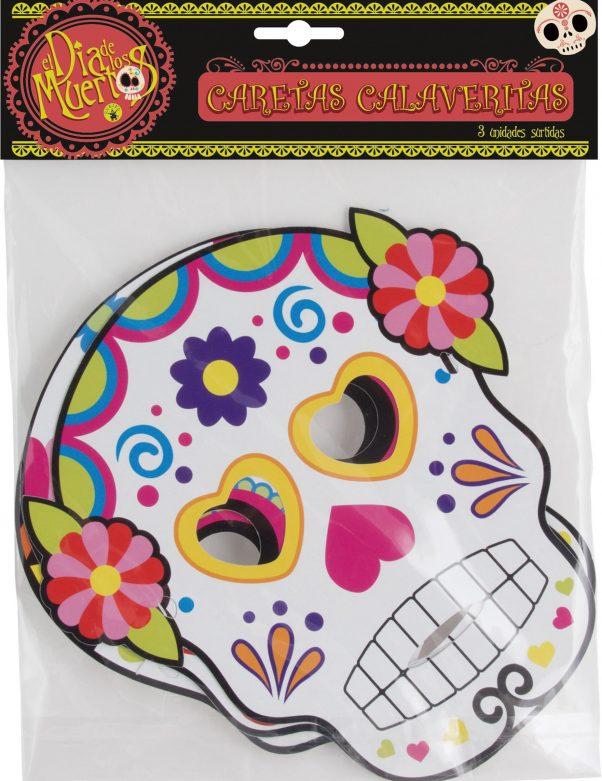 Photo du produit 3 Masques en cartons assortis Dia de los muertos adulte Halloween