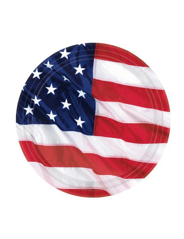 Photo du produit 8 Petites assiettes drapeau américain 18 cm