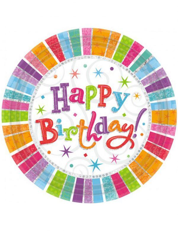 Photo du produit 8 Assiettes happy birthday multicolores