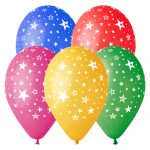 Photo du produit Sachet de 10 ballons étoiles multi imprimés tout autour Ø 30 cm