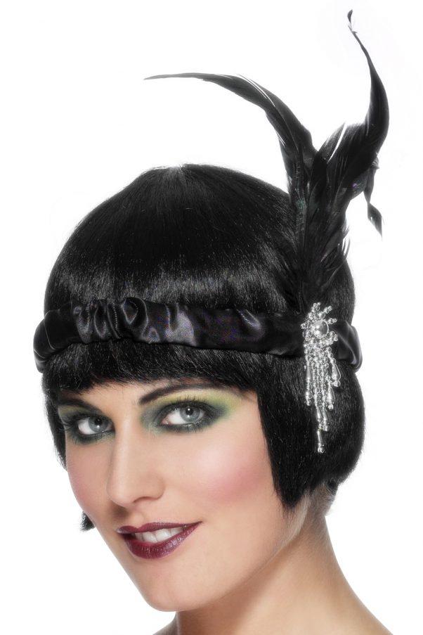 Photo du produit Bandeau charleston noir avec plume adulte