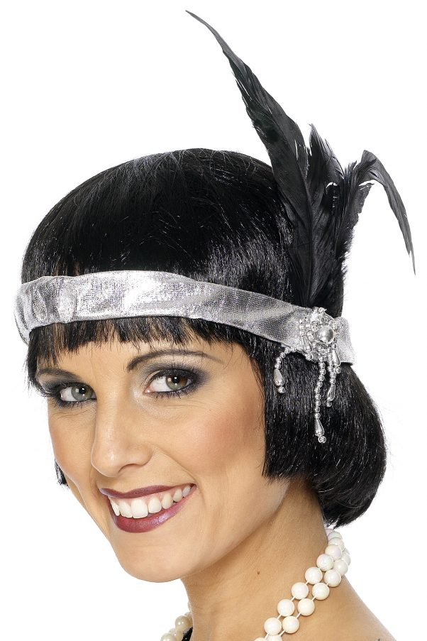 Photo du produit Bandeau charleston argenté avec plume adulte