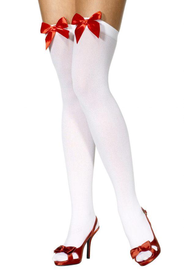 Photo du produit Bas blancs avec noeud rouge femme