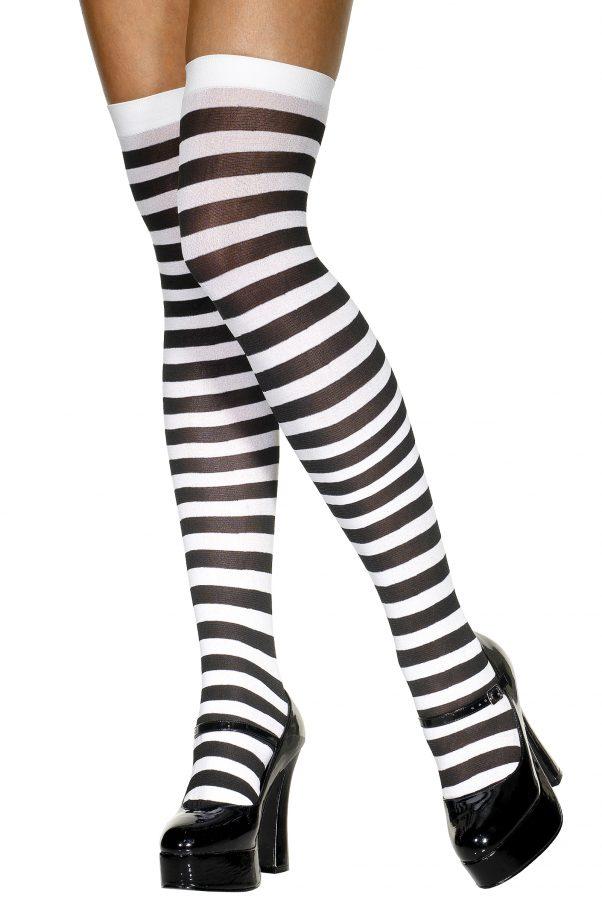 Photo du produit Bas rayés noir et blanc femme