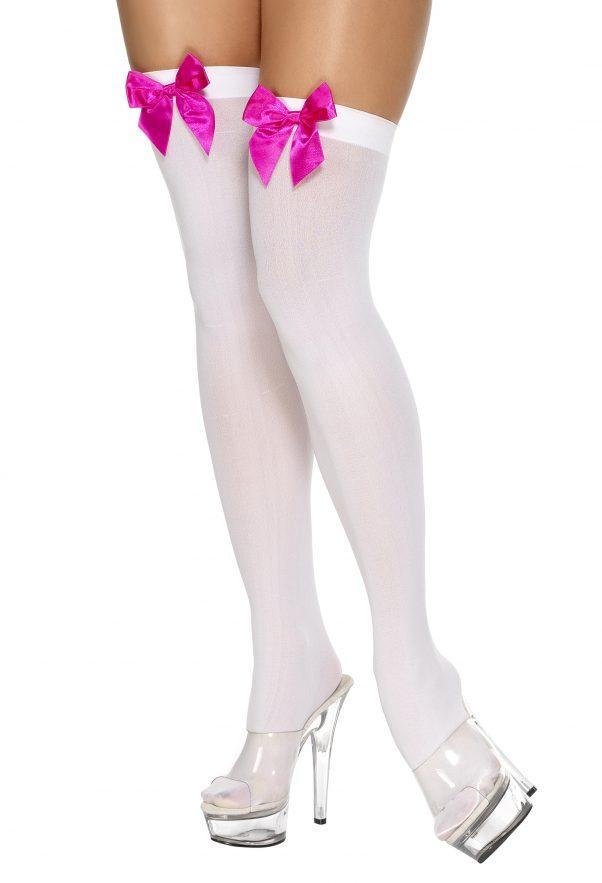 Photo du produit Bas blancs avec noeud rose femme