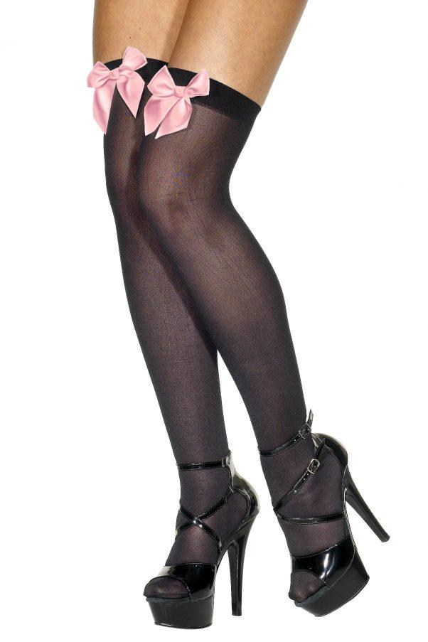 Photo du produit Bas noirs avec noeud rose clair femme