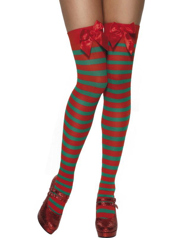 Photo du produit Bas rayés rouge et vert elfe femme Noël