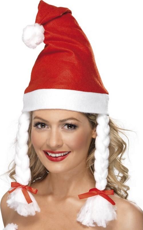 Photo du produit Bonnet rouge avec couettes adulte Noël