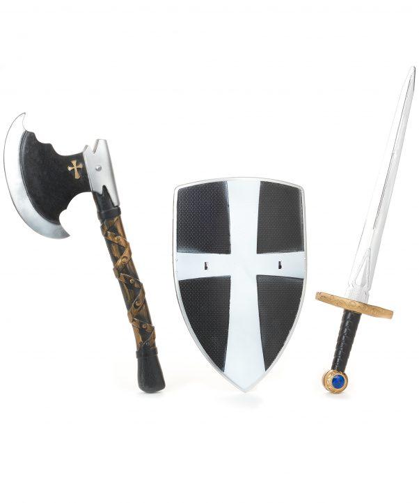 Photo du produit Bouclier épée et hache de chevalier médiéval en plastique enfant