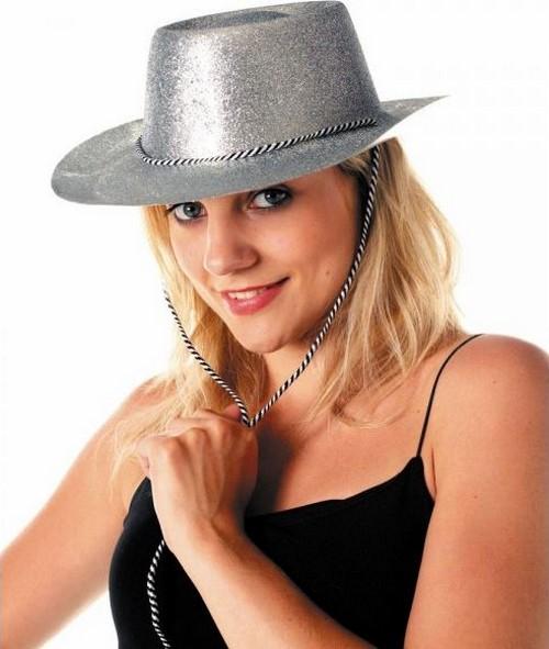 Photo du produit Chapeau cowgirl argent à paillettes adulte