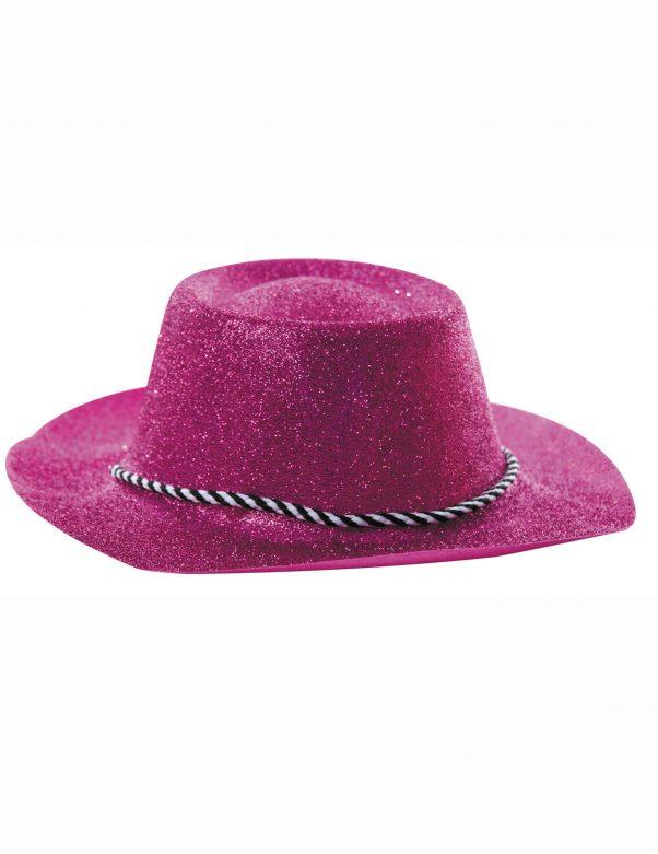 Photo du produit Chapeau cowgirl rose à paillettes adulte