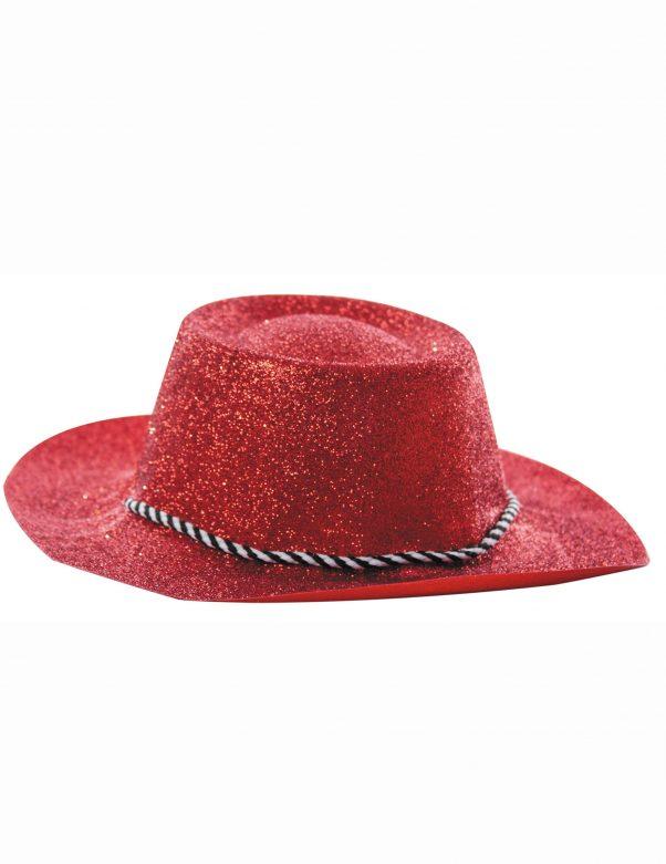 Photo du produit Chapeau cowgirl rouge à paillettes adulte