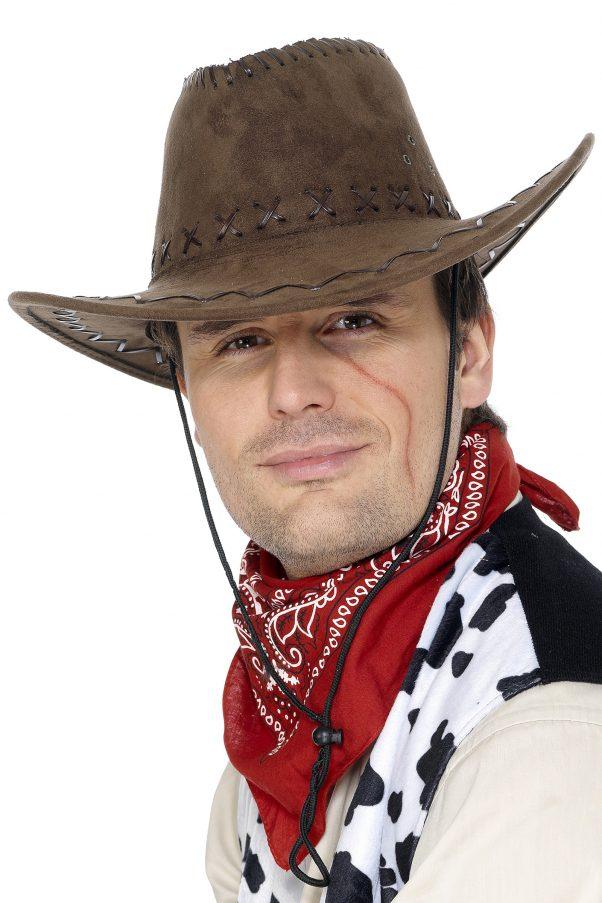 Photo du produit Chapeau cowboy marron effet suédé adulte