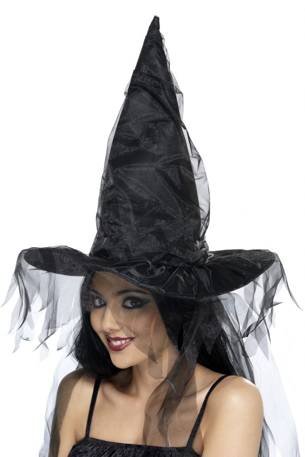 Photo du produit Chapeau sorcière noir à voilage femme