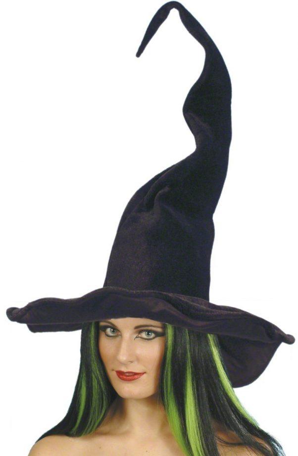 Photo du produit Chapeau sorcière noir velours femme Halloween