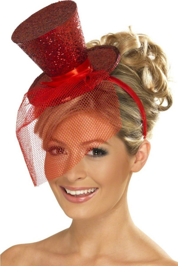 Photo du produit Mini chapeau haut de forme rouge femme