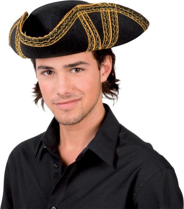 Photo du produit Chapeau de pirate noir à liseré or adulte