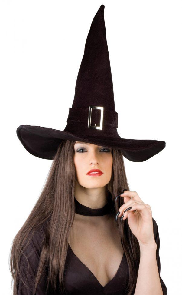 Photo du produit Chapeau sorcière velours halloween adulte