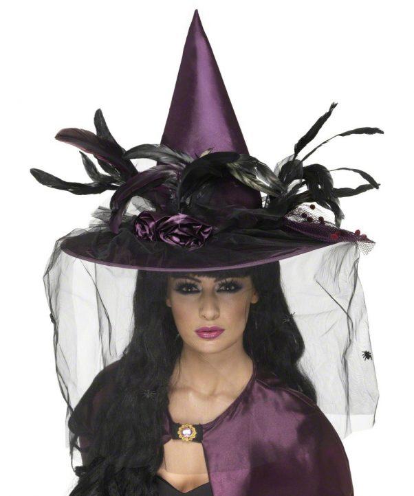 Photo du produit Chapeau sorcière luxe violet femme Halloween
