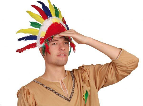 Photo du produit Coiffe d'indien plumes colorées adulte
