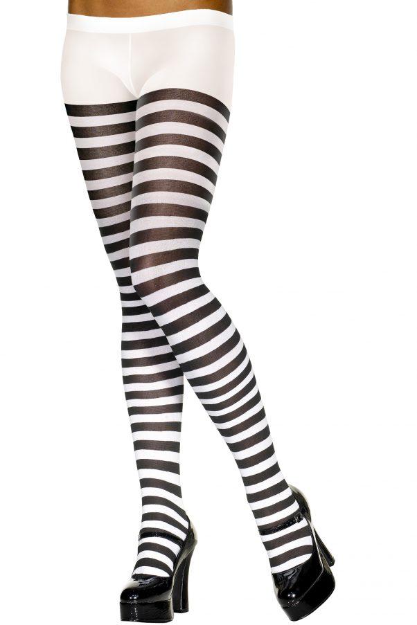 Photo du produit Collants rayés noir et blanc femme