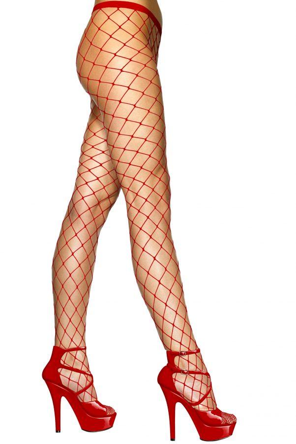 Photo du produit Collants mailles rouges femme