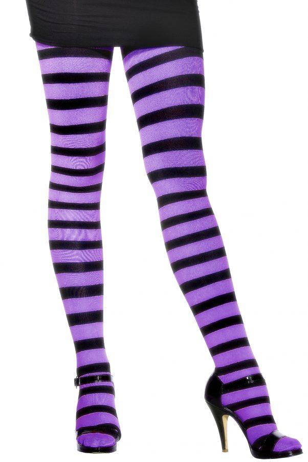 Photo du produit Collants rayés violet et noir femme