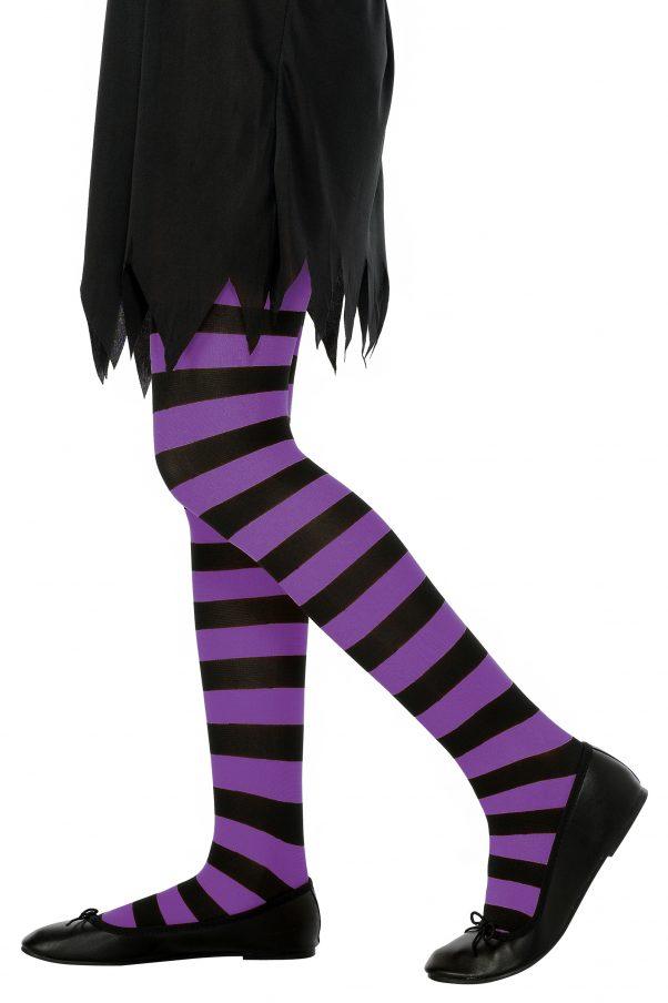 Photo du produit Collants rayés violet et noir fille