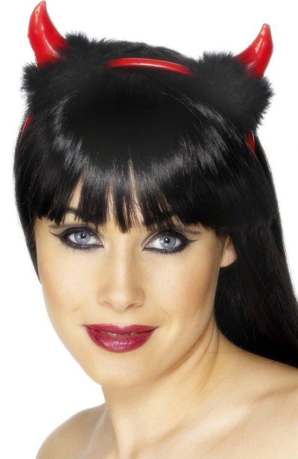 Photo du produit Cornes diable avec fourrure noire adulte Halloween