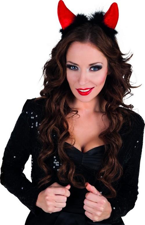 Photo du produit Cornes diable rouges avec fourrure noire adulte Halloween