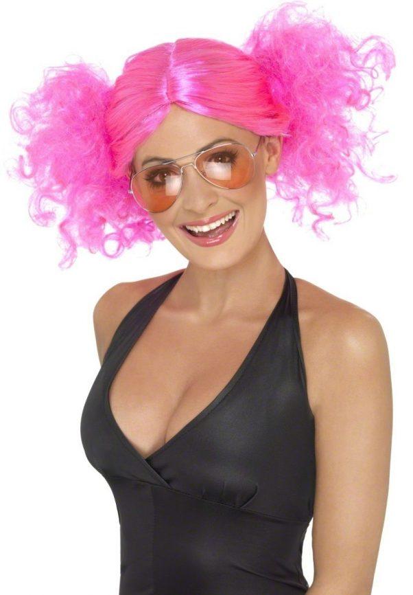 Photo du produit Perruque rose fluo femme