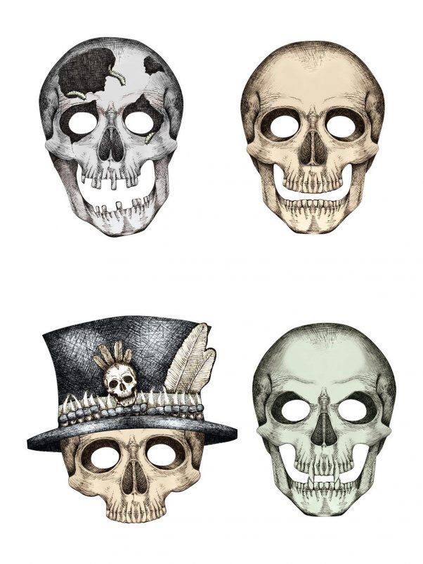 Photo du produit 4 Masques cartons squelette Halloween