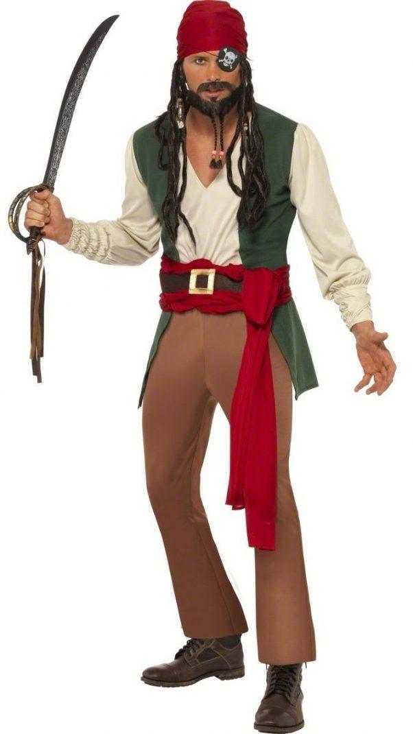 Photo du produit Déguisement pirate beige et vert homme
