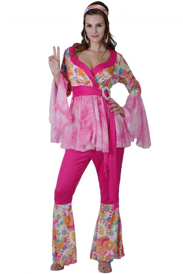Photo du produit Déguisement hippie flower rose femme