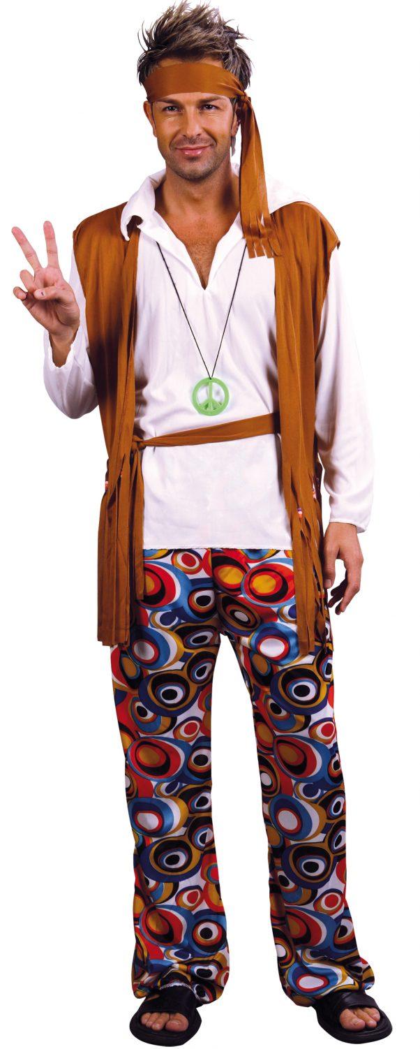 Photo du produit Déguisement hippie marron et blanc homme