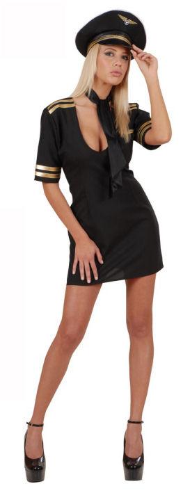 Photo du produit Déguisement pilote de l'air sexy noir femme