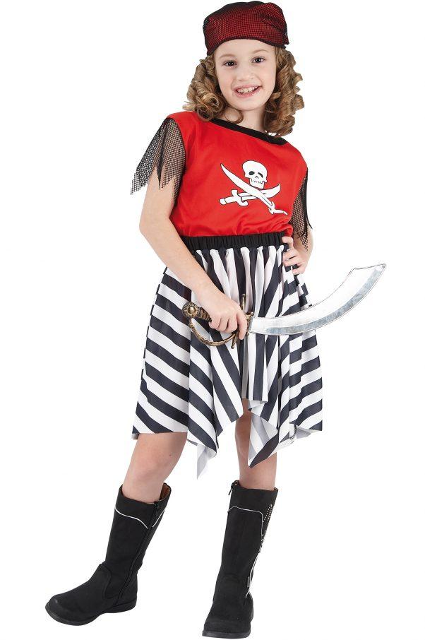 Photo du produit Déguisement pirate corsaire rouge fille