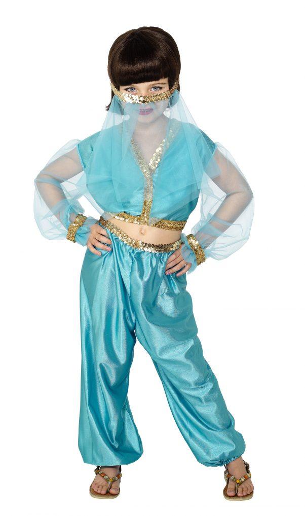 Photo du produit Déguisement danseuse orientale bleue et dorée fille