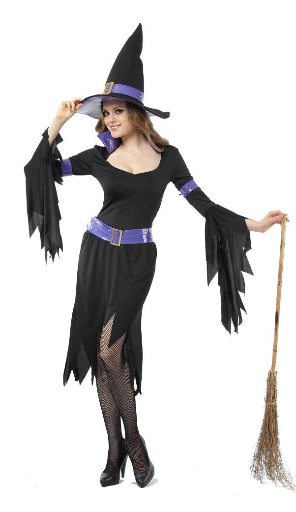 Photo du produit Déguisement sorcière violette et noire femme