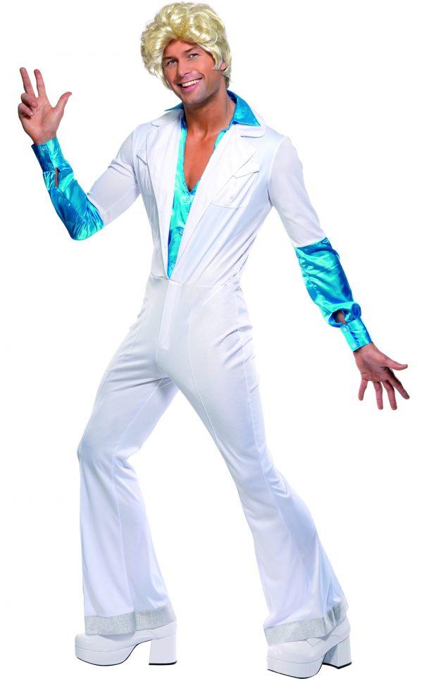 Photo du produit Déguisement disco blanc et turquoise homme