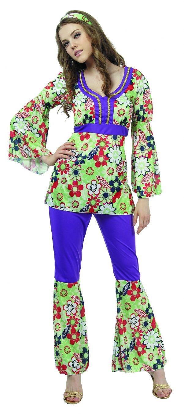 Photo du produit Déguisement hippie fleuri et violet femme