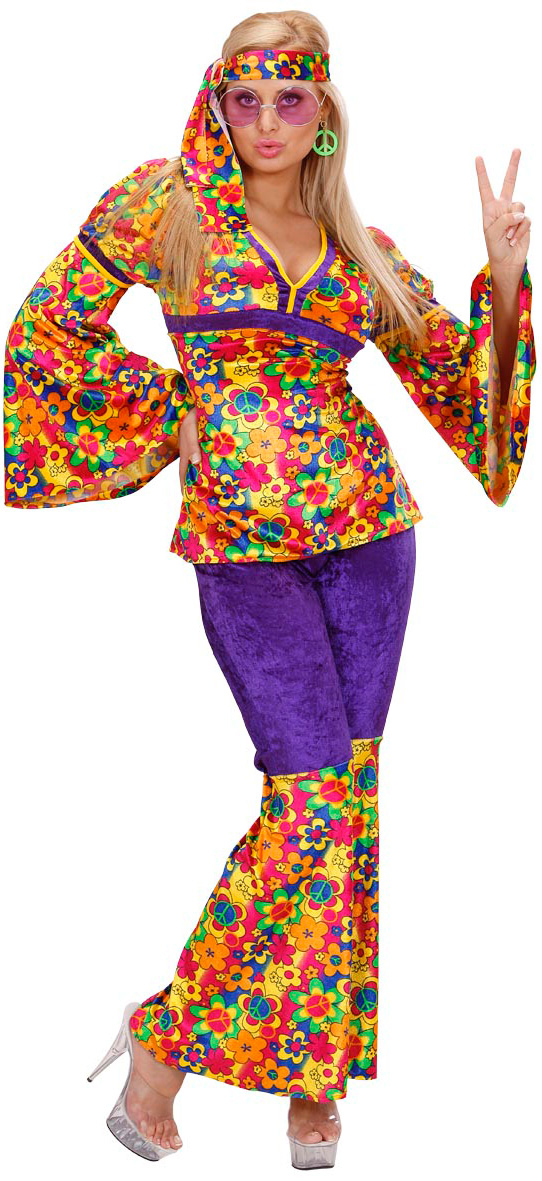 Photo du produit Déguisement hippie motif fleuris femme