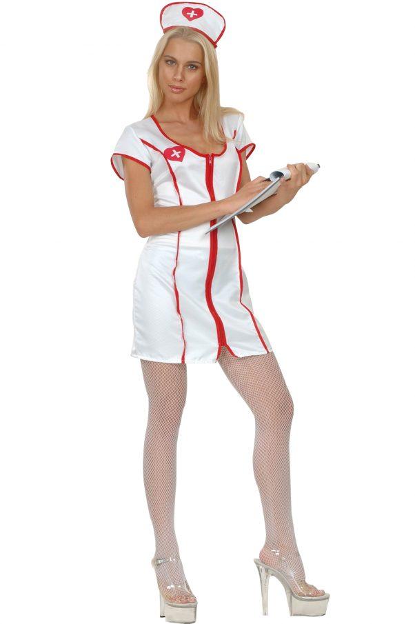 Photo du produit Déguisement infirmière sexy effet satiné femme