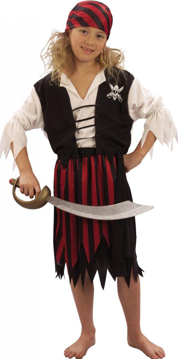 Photo du produit Déguisement pirate corsaire noir et rouge fille