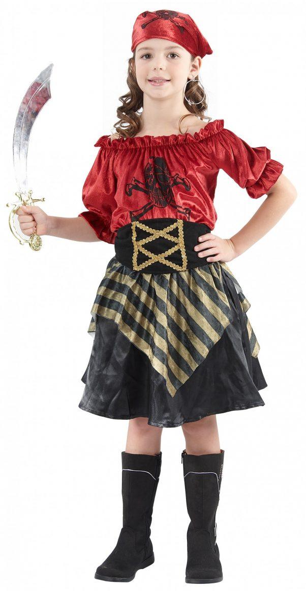 Photo du produit Déguisement pirate rayures dorées fille