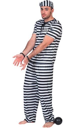 Photo du produit Déguisement prisonnier noir et blanc homme