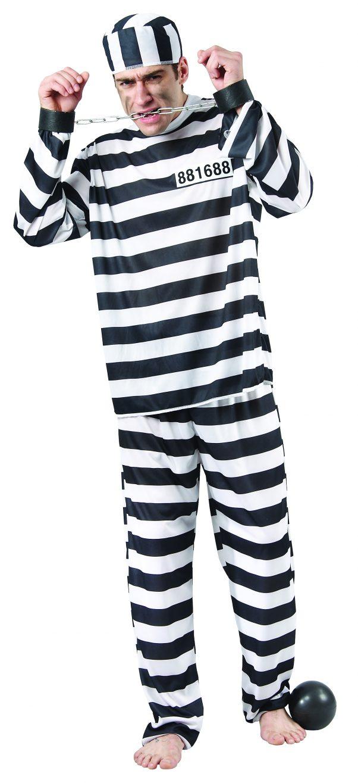 Photo du produit Déguisement de prisonnier noir et blanc homme