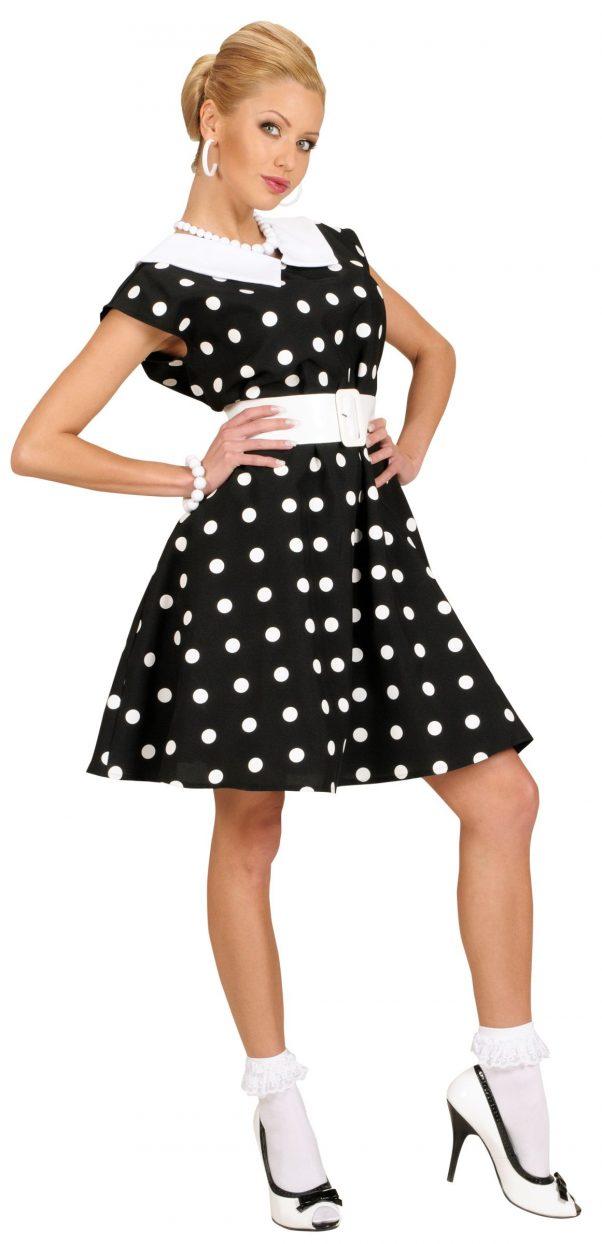 Photo du produit Déguisement robe noire à pois années 50 femme
