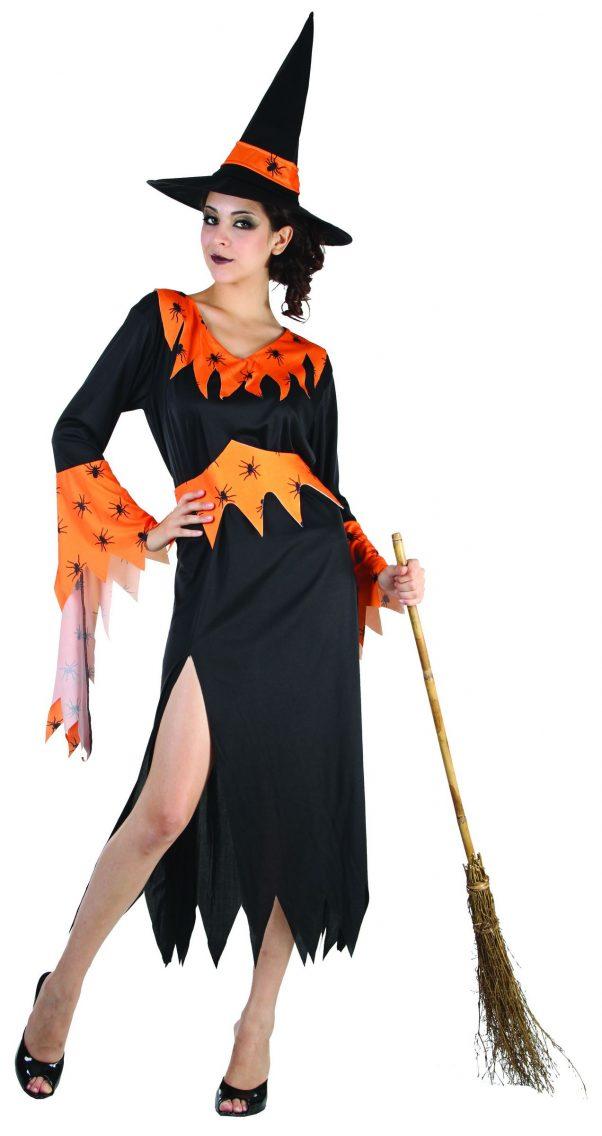 Photo du produit Déguisement sorcière orange et noire femme Halloween
