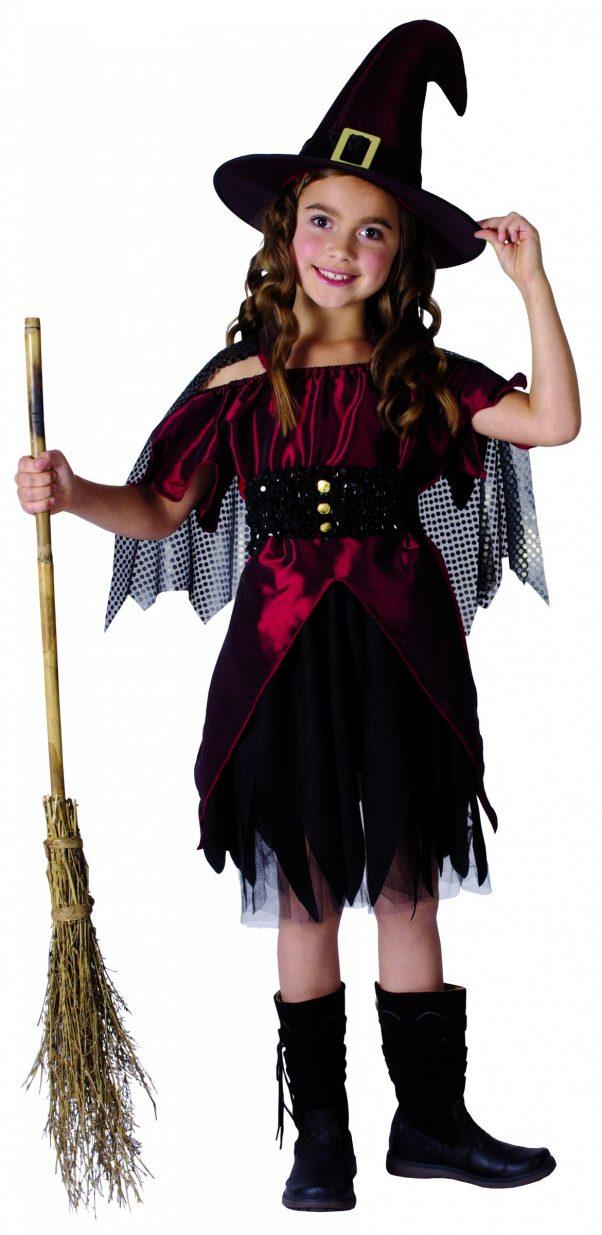 Photo du produit Déguisement sorcière rouge satiné fille Halloween